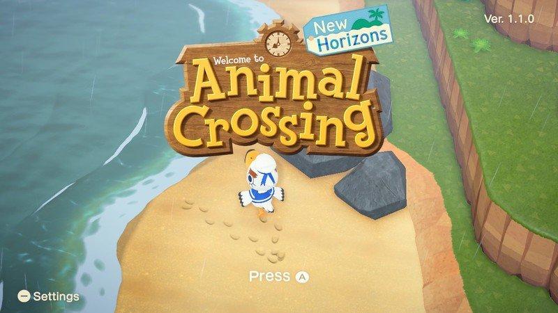 Écran de titre Animal Crossing New Horizons