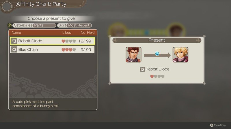 Xenoblade Chronicles Affinity Gift Hearts Two
