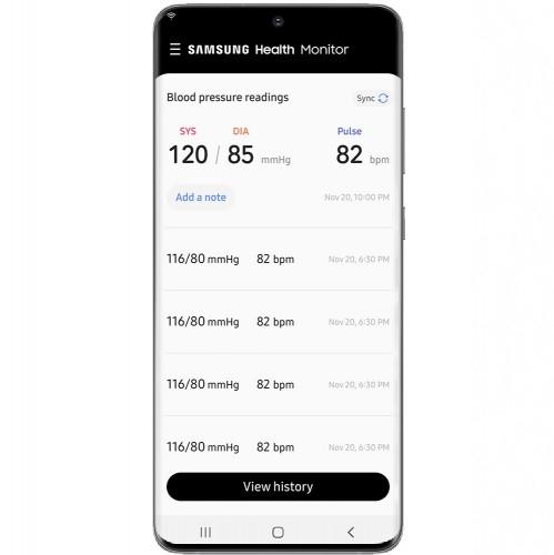 Lancement de l'application Samsung Health Monitor avec surveillance de la pression artérielle