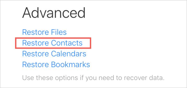 Restauration avancée des contacts sur iCloud