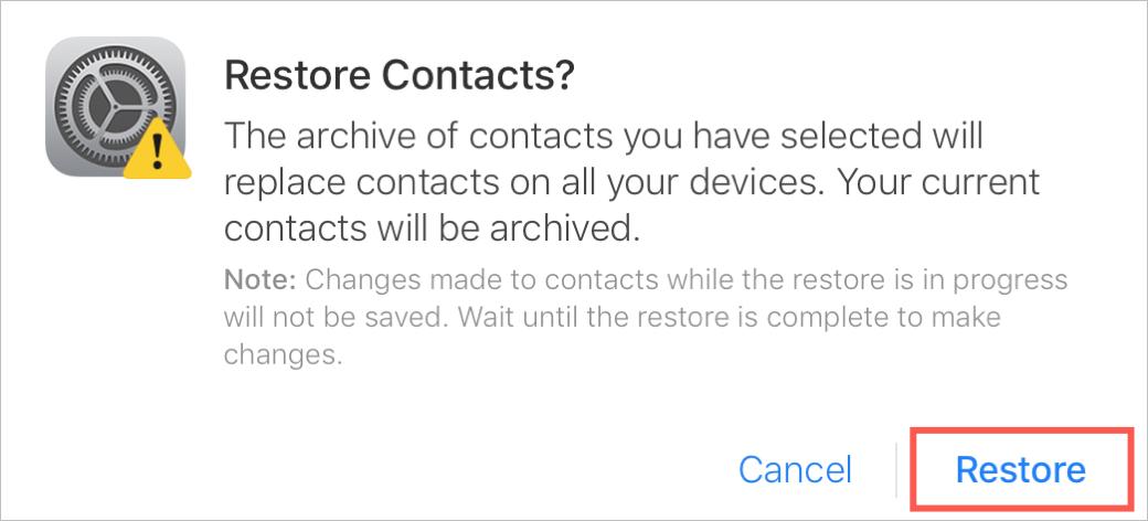 Confirmer la restauration des contacts sur iCloud