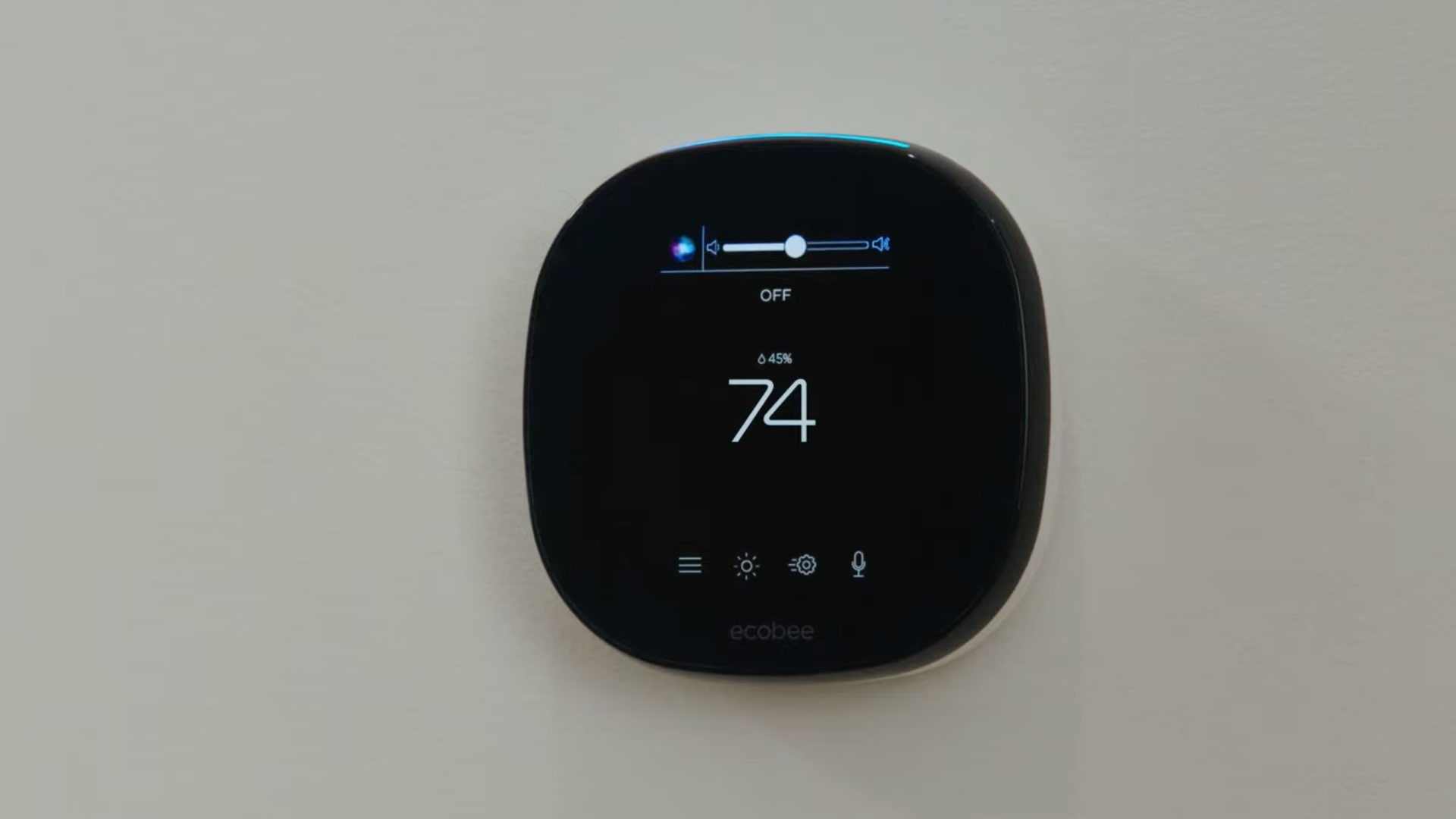 Une image montrant le thermostat Ecobee Smart avec l'orbe Hey Siri affiché sur son écran
