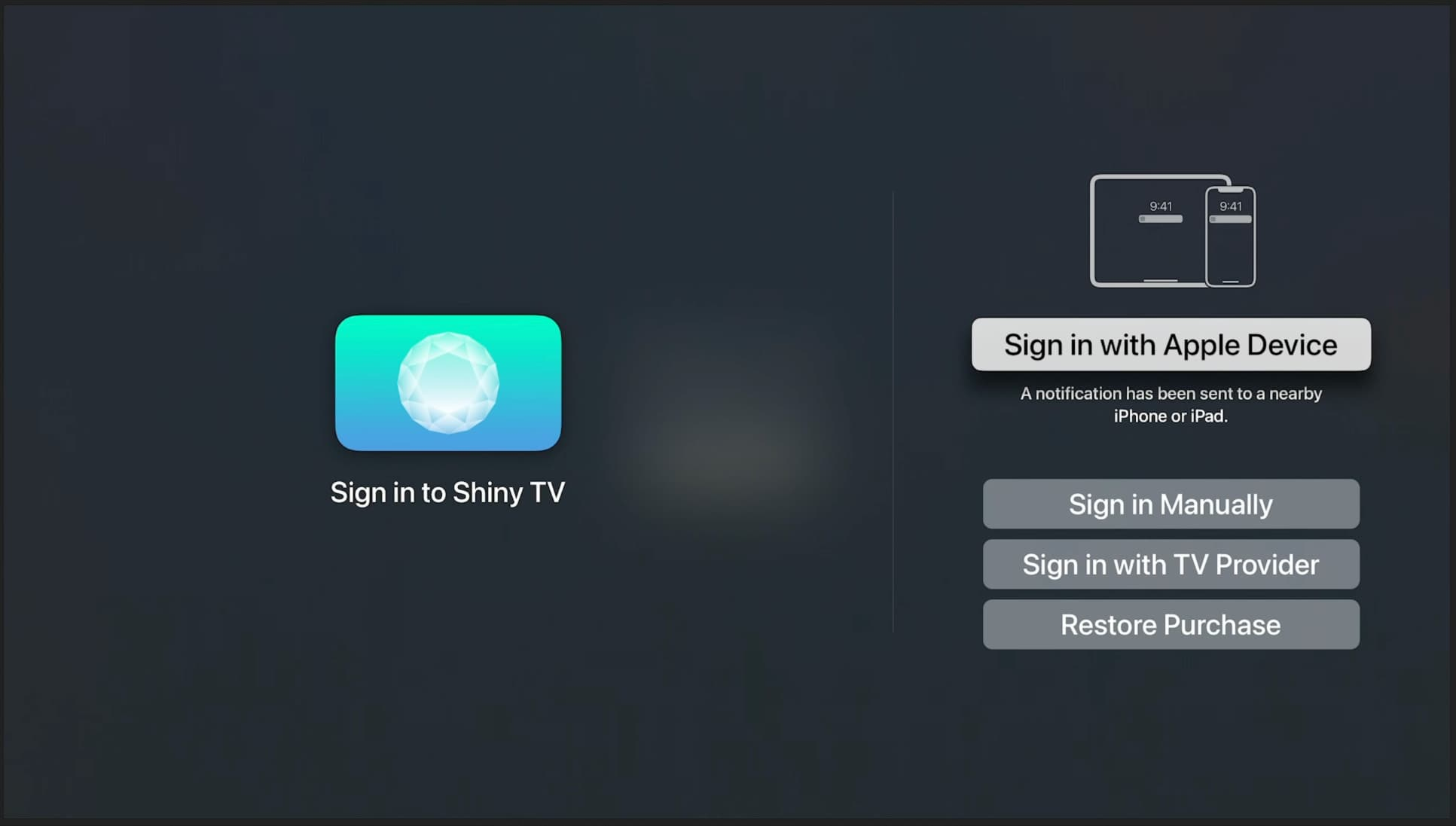 Une image montrant l'option Se connecter avec un appareil Apple en surbrillance sur Apple TV