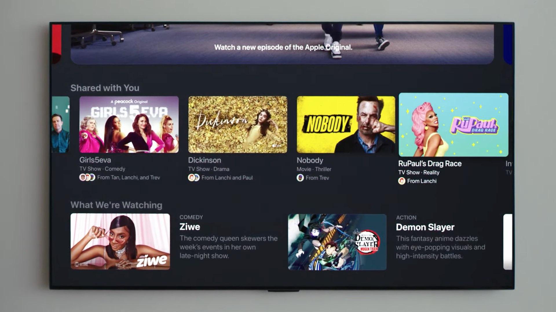 Une image montrant l'application Apple TV sur tvOS 15 avec le